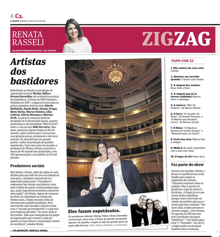 'Artistas dos Bastidores' Coluna Zig Zag - Jornal A Gazeta