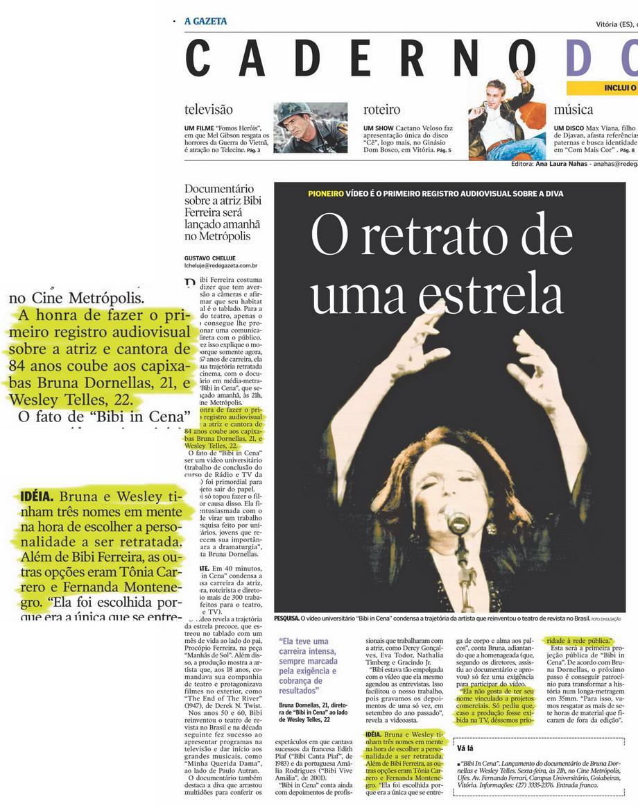 'O Retrato de uma Estrela' C2 - Jornal A Gazeta