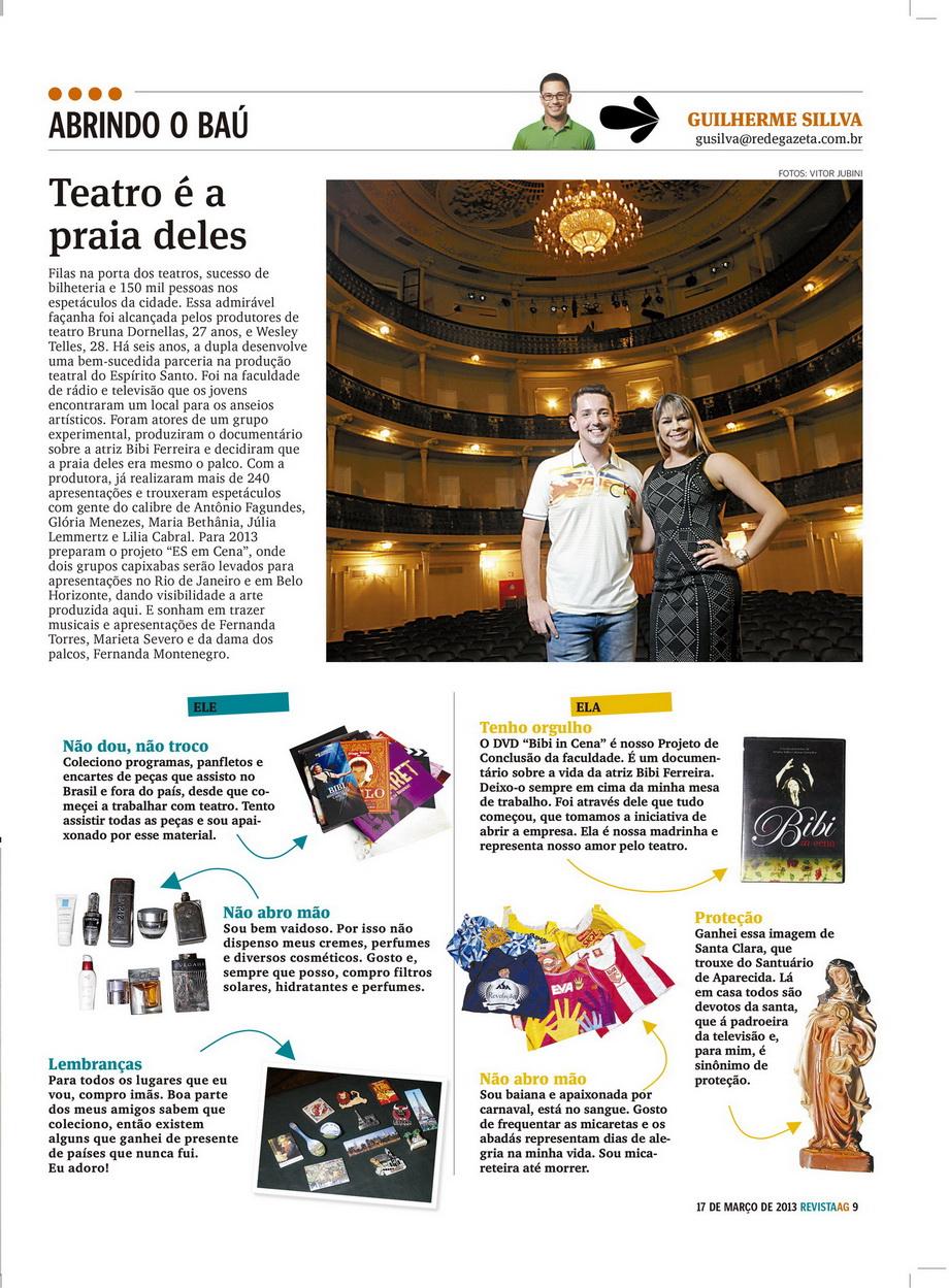 'Teatro é a praia deles' Revista AG - Jornal A Gazeta